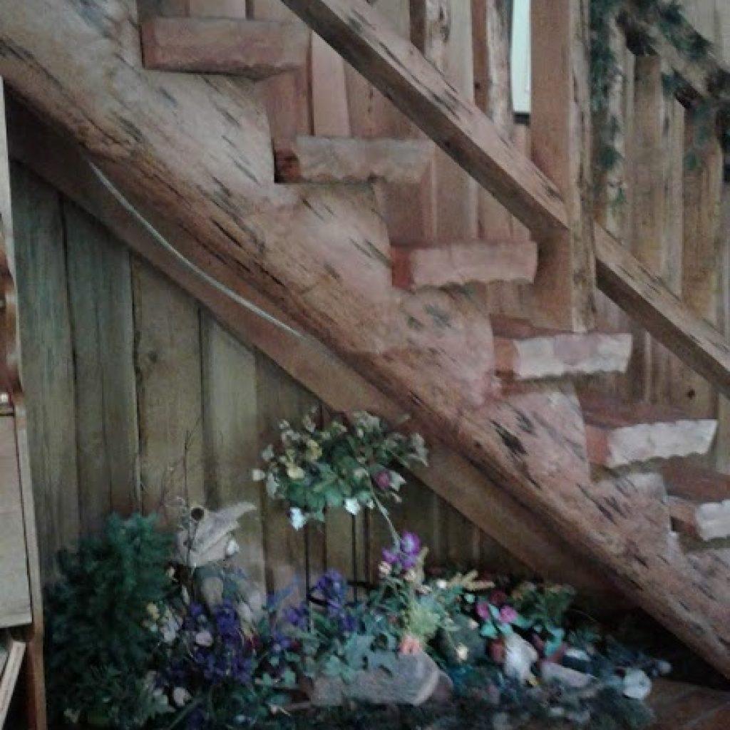 Seasonal decor under stairs